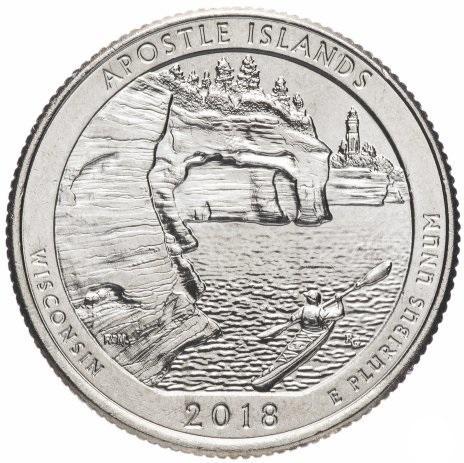 США 25 центов (квотер) 2018 Висконсин Острова Апостол (42-й парк)