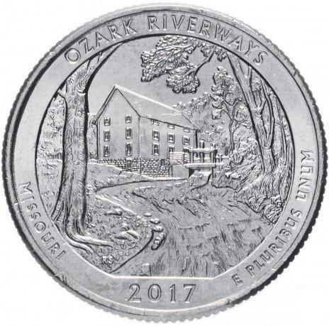 США 25 центов (квотер) 2017 Миссури Плато Озарк (38-й парк)