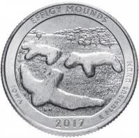 США 25 центов (квотер) 2017 Айова Эффиджи Маудз (36-й парк)