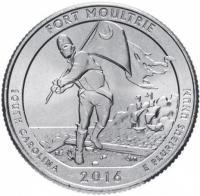 США 25 центов (квотер) 2016 Южная Каролина Форт Молтри (35-й парк)