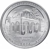 США 25 центов (квотер) 2016 Западная Вирджиния парк Ферри (33-й парк)