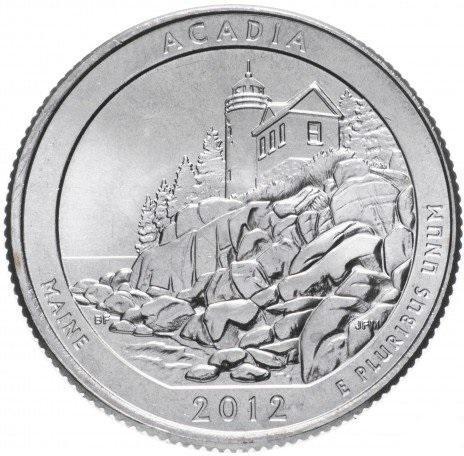 США 25 центов (квотер) 2012 Мэн парк Акадия(13-й парк)