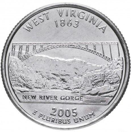 25 центов квотер Западная Вирджиния
