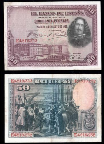Испания 50 песет 1928 года