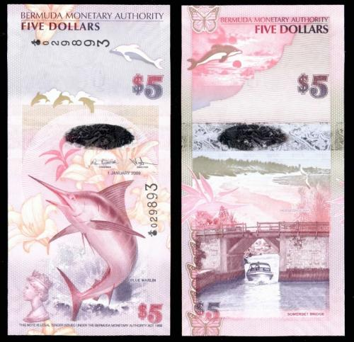 Бермудские острова 5 долларов 2009 года