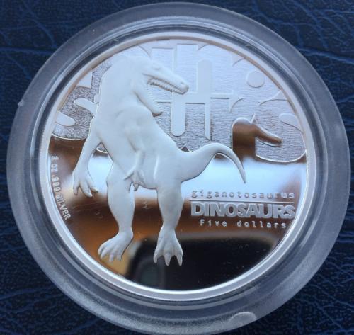 Тувалу 5 долларов 2002 Гигантозавр