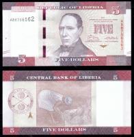 Либерия 5 долларов 2016 года