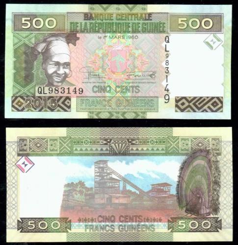 Гвинея 500 Франков 2015 года