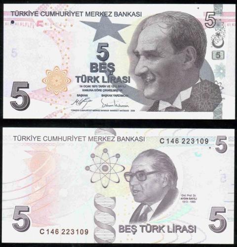 Турция 5 лир 2009 года