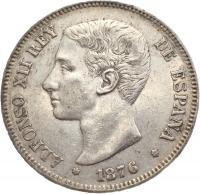 Испания 5 песет 1876 года