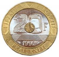 Франция 20 франков 1992 года