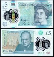 Великобритания 5 фунтов 2015 года Полимер