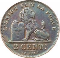 Бельгия 2 сантима 1912 года