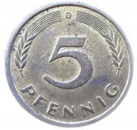 Германия 5 пфеннигов 1977 года