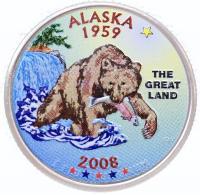 США 25 центов (квотер) 2008 Аляска