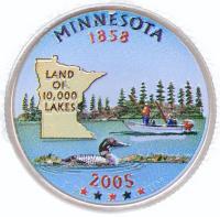 США 25 центов (квотер) 2005 Миннесота Цветной