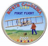 США 25 центов (квотер) 2001 Северная Каролина Цветной