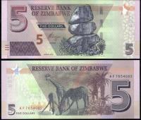 Зимбабве 5 долларов 2019 года