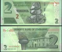 Зимбабве 2 доллара 2019 года