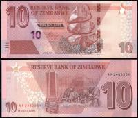 Зимбабве 10 доллара 2019 года