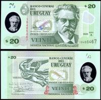 Уругвай 20 песо 2020 года Полимер