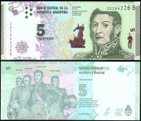 Аргентина 5 песо 2015 года