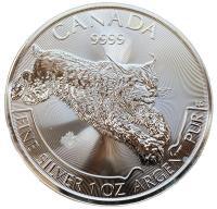 Канада 5 долларов 2017 Рысь