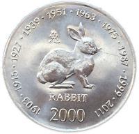 Монета Сомали 10 шиллингов 2000 Год Кролика