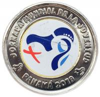 Цветная монета Панама 1 бальбоа 2019 Всемирный День Молодежи