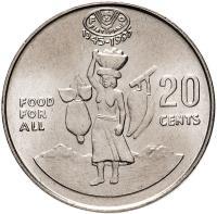 Монета Соломоновы Острова 20 центов 1995 года