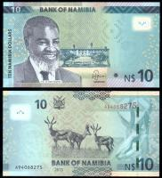 Банкнота Намибии 10 долларов 2013 года