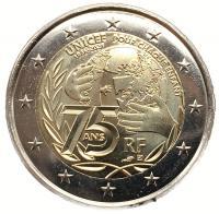 2 евро 2021 75 лет ЮНИСЕФ