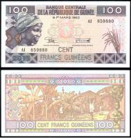 Банкнота Гвинеи 100 Франков 2015 года