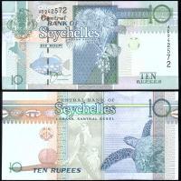 Банкнота  Сейшельских Островов10 рупий 1998-2010 года