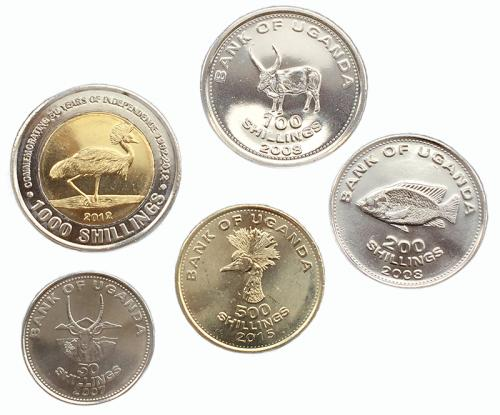 Уганда Набор Монет 2007-2015 годов 5 монет