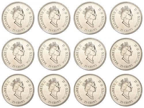 Канада Набор Монет 25 центов 1999 года 12 месяцев
