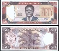 Банкнота Либерии 50 долларов 2011 года
