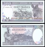 Банкнота Руанды 100 франков 1989 года