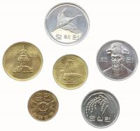 Южная Корея Набор монет 1966-2000 года 6 штук