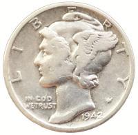 США 1 дайм (10 центов) 1942 года