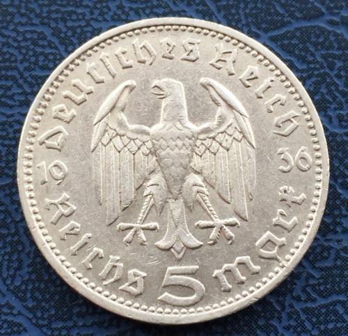 5 Рейхсмарок 1936 года D